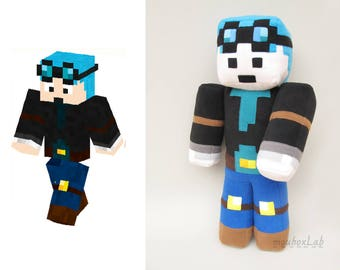 "Minecraft inspired Dan tdm plushie 23.6"" The Diamond Minecart doll - MADE TO ORDER"
