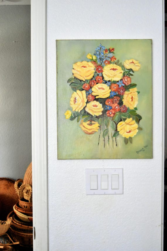 RESERVED // vintage original vintage yellow flower rose bouquet painting