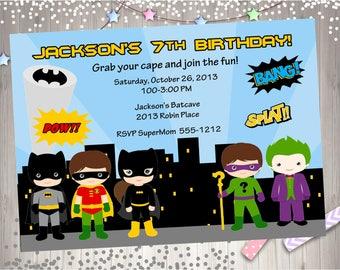 Batman vs villains Birthday Invitation Invite Batman and Villains superhero birthday party printable invitation