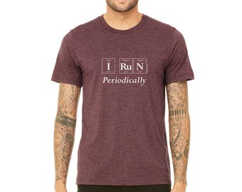 "The ""I RUN Periodically"" Men's T-Shirt - Periodic Table Themed Guy's Tee by Periodically Inspired (Heather Maroon)"