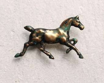 Horse Brooch ... Vintage Brass Pony Stamping  with Turquoise Green Antique Patina