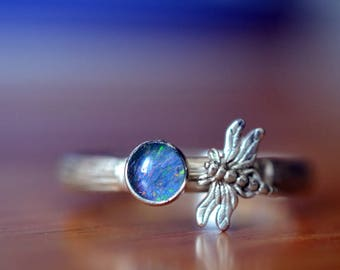 Handmade Opal Ring, Silver Dragonfly Ring, Silver Bamboo Ring, 5mm Round Australian Blue Green Opal Triplet, Silver Insect Dragonfly Jewelry