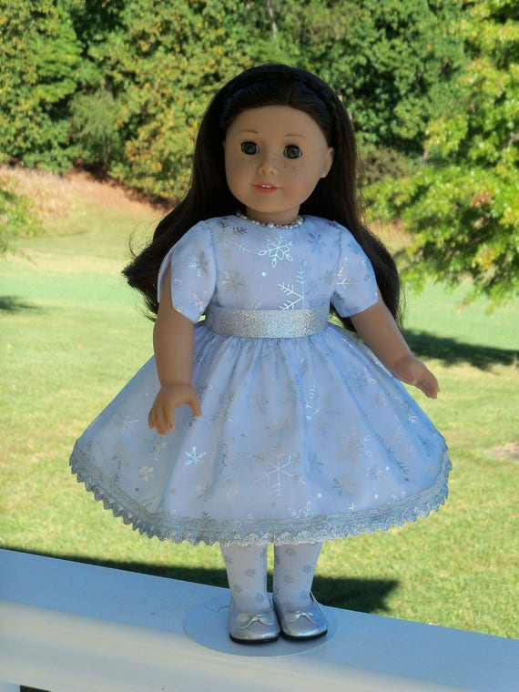 """18"""" Size/  Exquisite Metallic Snowflake  Dress Fits  American Girl or Other 18"""" Dolls"""