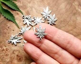 10 Antique Silver Finish Cannabis Leaf Shaped Charms - 15mm x 21mm - Lead-Free Zinc Alloy - Ganja, Weed, Marijuana, Maryjane, 420, Pot, MMJ