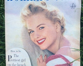 Vintage 50s Magazine - 1950s Woman's Own - Woman's Own Magazine - Vintage Fashion - Vintage Advert - Vintage Cover Girl