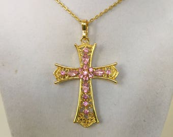 Large Gold  and Crystal Cross Necklace