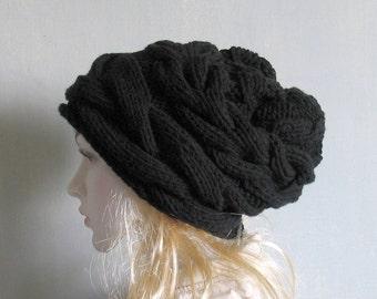 Black Winter Hat Knit Hat Slouchy Beanie Beanie  Hat Beret Slouchy Hat Women Hat Oversized Hat Chunky Knit Slouchy Hat Slouchy Beanie Beige