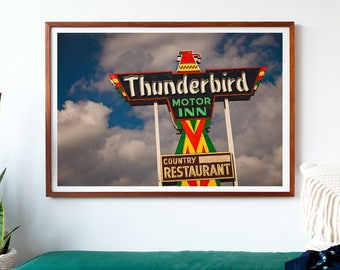 Thunderbird Motel Neon Sign Art | Guest Room Decor | South Carolina Art | Neon Sign Print | Retro Wall Art | Motel Sign Print | Florence
