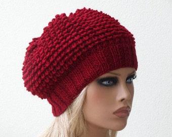 Women Knit Berets, Red Womens knit winter hats, Slouchy hat, Womens Knit Hat, Hand knit hat for women, Knit  shunky beret