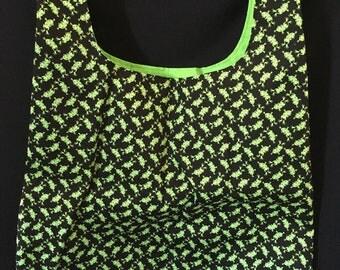 Frog Print Fabric Shopping Bag