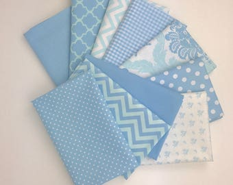 Baby blue fabric, Baby boy fabric, Bundle of 10 Fat Quarters 100% cotton fabric for Quilting and general sewing projects.