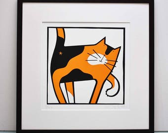 Cat Scratch - original black and orange tortoiseshell cat print, funny cat picture, cat art print limited edition of 100 cat prints unframed