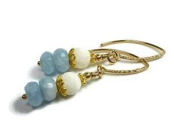 Aquamarine Earrings, Dangle Aquamarine and White Coral Earrings, Gold Filled, Beach Earrings, Blue GemStone , March Birthstone