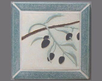 Olive Branch Arts and Crafts MUD Pi Decorative Handmade Ceramic Mounted Tile Trivet