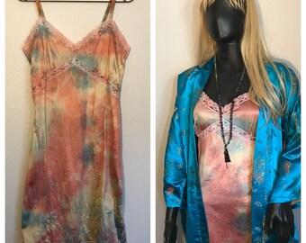 Hand dyed unworn vintage dead stock knee length Slip Dress in coral/teal