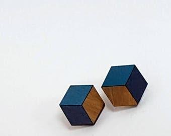 3d Cube Earrings - Cube Stud Earrings - Geometric Earrings - Geometric Jewellery - Gifts for Women - Unusual Jewellery - Stocking Filler