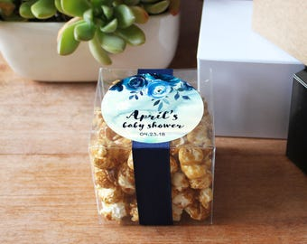 12 -  Indigo Floral Baby Shower Favor Boxes - Personalized Favor Box | Indigo Floral Favor Label | 3X3 box | square favor box | ANY OCCASION