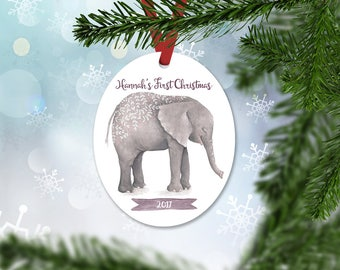 Personalized First Christmas Ornament, Baby Girl Keepsake Ornament, Baby's 1st Christmas, Watercolor Elephant, Christmas Gift (023)