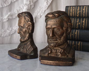 Vintage Abe Lincoln Bookends Abraham Lincoln Library Bookshelf Bronze Book Holders 1940s
