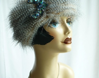 Black  Pillbox with Faux Feather Fur