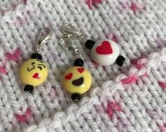 Emoji Stitch/Progress Markers, Zipper Pull - LOVE