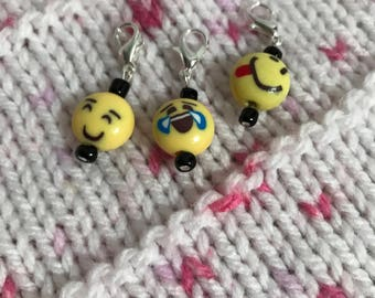 Emoji Stitch/Progress Markers, Zipper Pull - JOY