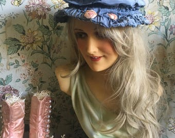 Antique Vintage 1910s Hat Bonnet Dusty Blue Silk Ribbonwork Flowers