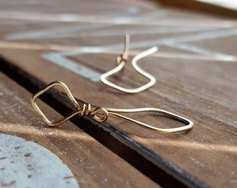 Large Triangle Earrings, Gold Geometric Earrings, Artisan Jewelry, Unique Hoop Earrings, 14k Gold Filled Earrings