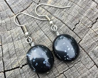 Snowflake Obsidian Ovals . Earrings