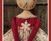 Primitive Snowman, Prim Snowgal, Christmas primitives, Christmas doll, Prim snowman, snow queen, snowman doll, prim snowman doll