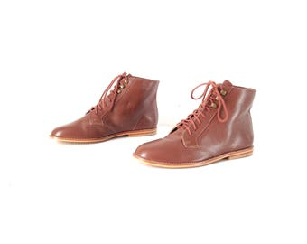 vintage BOOTIES color block size 7 women's fresh prince LEATHER classic oxford ankle boots