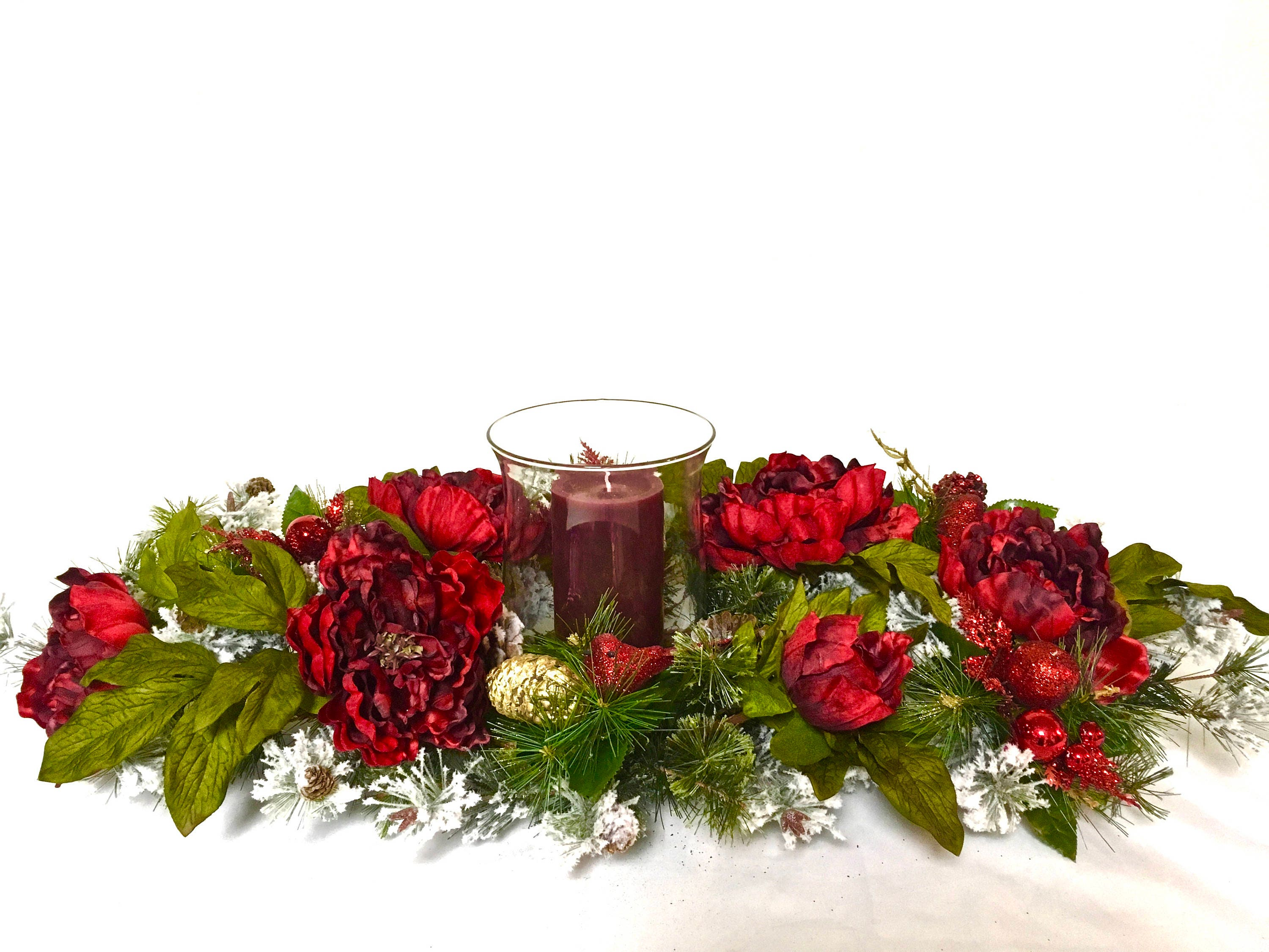 Red peony christmas candle centerpiece arrangement approx