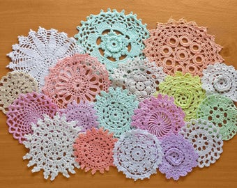 Rainbow of Light Colored Vintage Doilies, 18 Pastel Hand Dyed Doilies, 2.5 to 5 inches, Crochet Mandalas for Crafts and Dreamcatchers