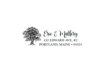 Housewarming Anniversary Wedding Gift Personalized Custom Return Address Rubber Stamp or Self Inking - Rustic Family Tree Roots - Nature