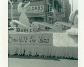 "Vintage Snapshot ""The Waving Queen"" Vernacular Americana Float Parade Woman Wave Arm Gone With the Wind Teenage Old Photograph Picture - 49"