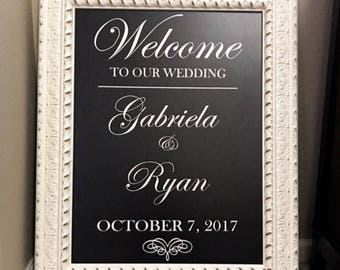 Scroll Heart Welcome Wedding Mirror Vinyl Decal/Bridal Shower/Bridal Brunch, Tea/Sweet 16/Baby Shower/ Retirement Welcome Sign