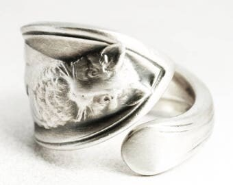 Antique Cat Ring, Kitten Ring, Spoon Ring Sterling Silver Spoon Ring, Animal Ring, Cute Animal, Cat Lover Gift, Adjustable Ring Size (7019)