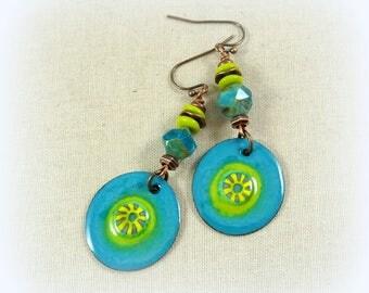 Turquoise and Kiwi Green Earrings - Artisan Enamel Charm Earrings, Turquoise, Lime and Yellow, Bright Color Boho Turquoise Earrings