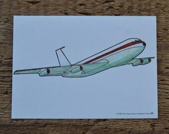 Vintage 1980s Educational Ephemera Scrapbooking Picture Print Flash Card - Airplane Plane Transportation