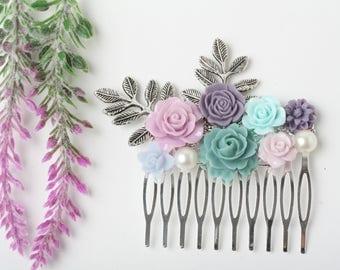 Purple and blue hair comb, Wedding hair accessory, Flower hair comb, Bridal hair comb, Purple Blue  hair comb, rustic wedding hair comb