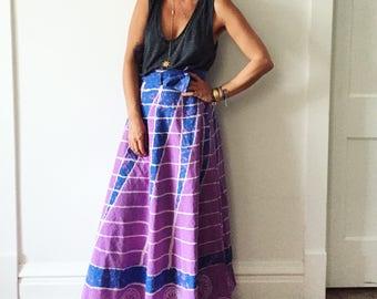 Vintage Wrap Skirt , Batik Maxi Skirt