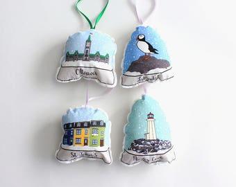 Christmas ornaments: snow globe tree decorations- soft ornament set