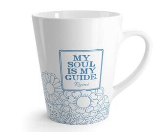 "Rumi Quote Mug, Inspirational mug, Quote Mug, Coffee Mug, RUMI Mug, Inspirational coffee mug, ""My soul is my guide"""