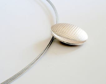 Fine Silver Oval Necklace // Ellipse Pendant on spiral choker necklace  // gifts for her
