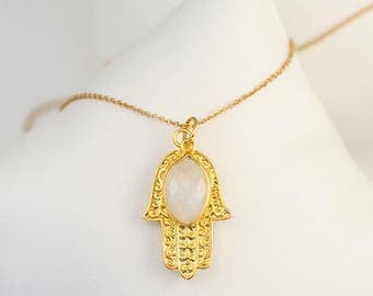 Gold Hamsa Hand Necklace, Moonstone Necklace, June Birthstone Necklace, Christmas Gift for Her, Good Luck Hand Necklace