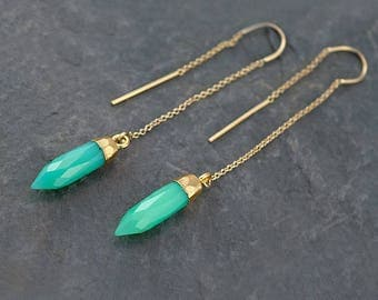 Mint Green Ear Threaders, Statement Earrings Gold, Green Chrysoprase Dangle, Best Friend Gift, Gift for Girlfriend, Gemstone Point Earrings