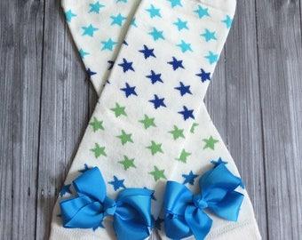 Blue Green Star Leg Warmers with Ribbon Bows, Boys Girls Legwarmers, Toddler Kids Leggings Socks