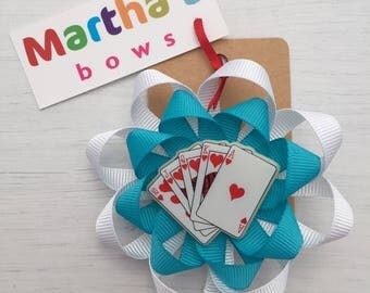 Alice in wonderland hair bow, double rosette hair clip, playing cards