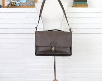 Vintage Coach Briefcase // Metropolitan Brief Bag Gray Taupe Brown // Coach Laptop Attache