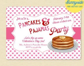 Pancakes & Pajamas Valentine's Party Invitation - Digital Printable - JPG and PDF - class party pink hearts valentine's day printable invite
